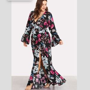 Dresses & Skirts - Multicolor Floral Print Bell Sleeve Wrap Dress - 0